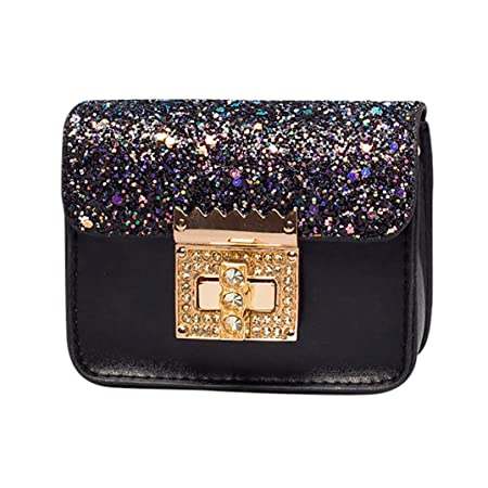 Amazon.com: Small Shoulder Bag Crossbody Bag For Women Glitter Purse Evening Messenger Bag With Chain Strap (Black): Hattfart