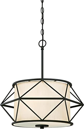 Westinghouse Lighting 6324600 One-Light Indoor Pendant, Matte Black Finish with Sand Fabric Shade