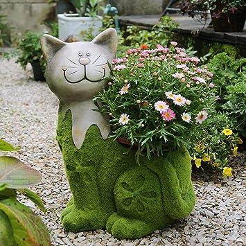 Figura Decorativa para jardín Creativo Lindo Gato Maceta ...