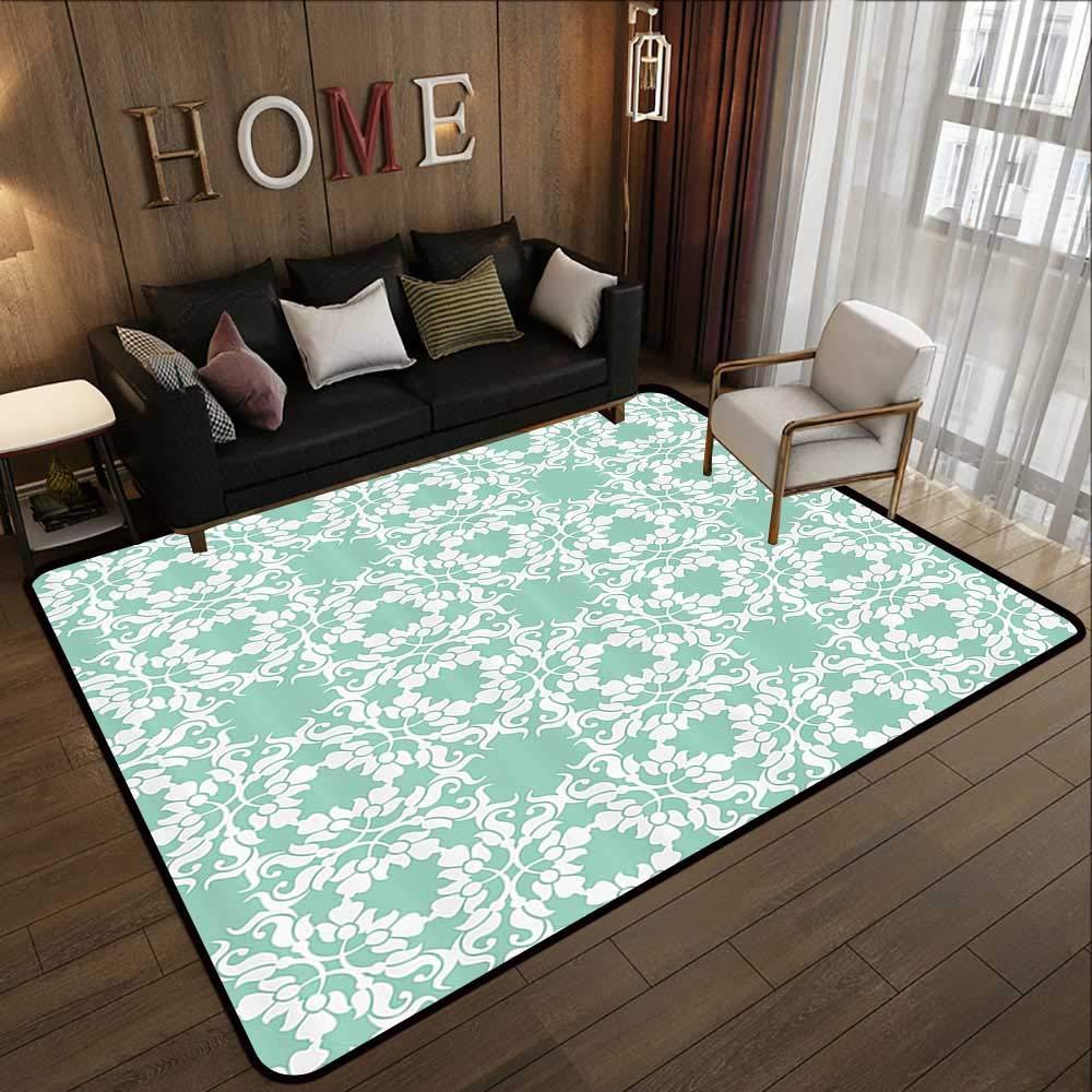 Pattern09 78.7 x 94 (W200cm x L240cm) Carpet mat,Turquoise Decor Collection,Round Ethnic Pattern with Emerald Mandala Elements Eastern Oriental Artful Design,Teal White 63 x 94  Floor Mat Entrance Doormat