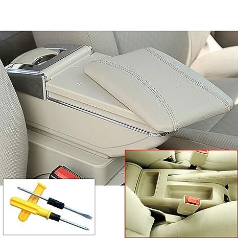 MyGone para Bora Golf 4 Auto Consola Central Apoyabrazos Reposabrazos Accesorios con portavasos Cenicero extraíble Beige