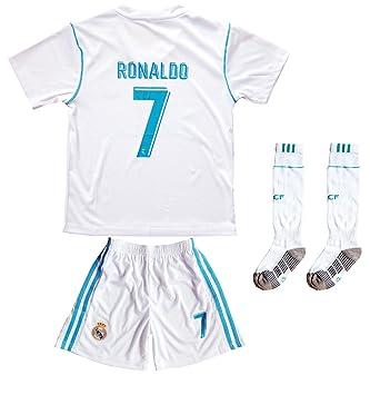 2017/2018 Real Madrid # 7 Cristiano Ronaldo doméstica Pantalón y calcetines de fútbol infantil tamaños: Amazon.es: Deportes y aire libre