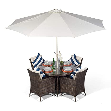 Salon de jardin en rotin Savannah | Ensemble marron table ...