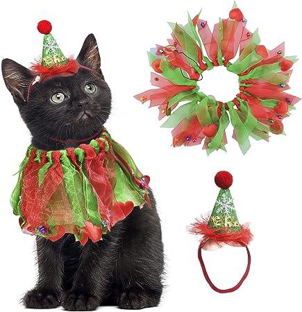 Juego de gorro y collar de Navidad para mascotas