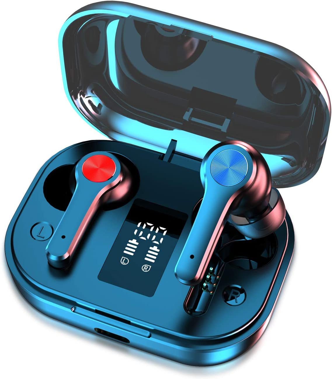 Wireless Earbuds, Bluetooth 5.0 Headphones in-Ear with Charging Case, Waterproof Deep Bass TWS Stereo Earphones Built-in Mic with LED Display Touch Control Compatible with iPhone and Android