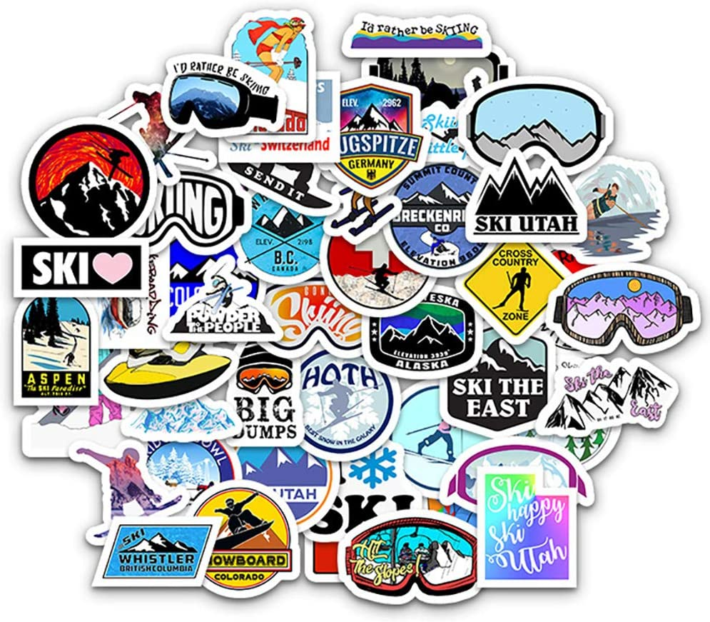 Skiing Sticker Pack of 50 Snowboard Stickers Skiing Sports Decals for Snowboard Laptops Hydro Flasks Water Bottles Luggage