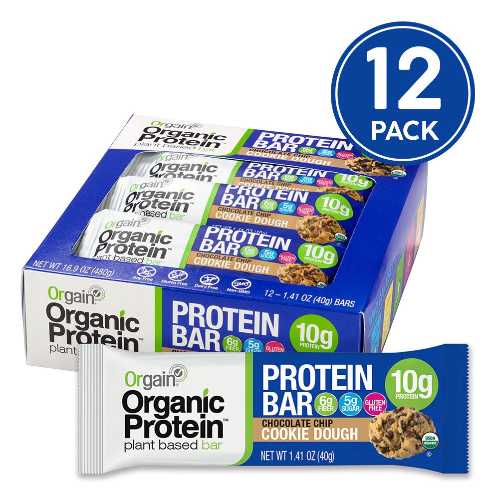 Orgain Organic Plant Based Protein Bar, Chocolate Chip Cookie Dough - Vegan, Gluten Free, Non Dairy, Soy Free, Lactose Free, Kosher, Non-GMO, 1.41 Ounce, 12 Count by Orgain