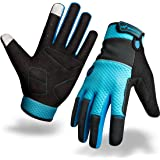 Back Waterproof Cycling Gloves, Spring, Summer, Autumn, Winter All Season Mountain Full Finger Anti-Shock Bike Gloves for Women and Men with Two Screen Touch Spots