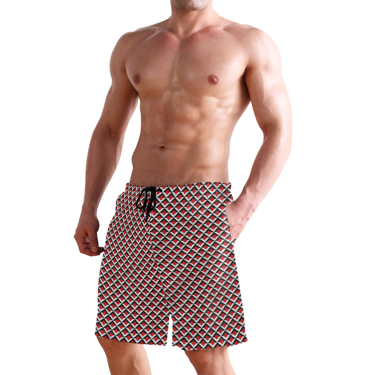 KVMV Vibrant Grid Tile Quick Dry Beach Shorts