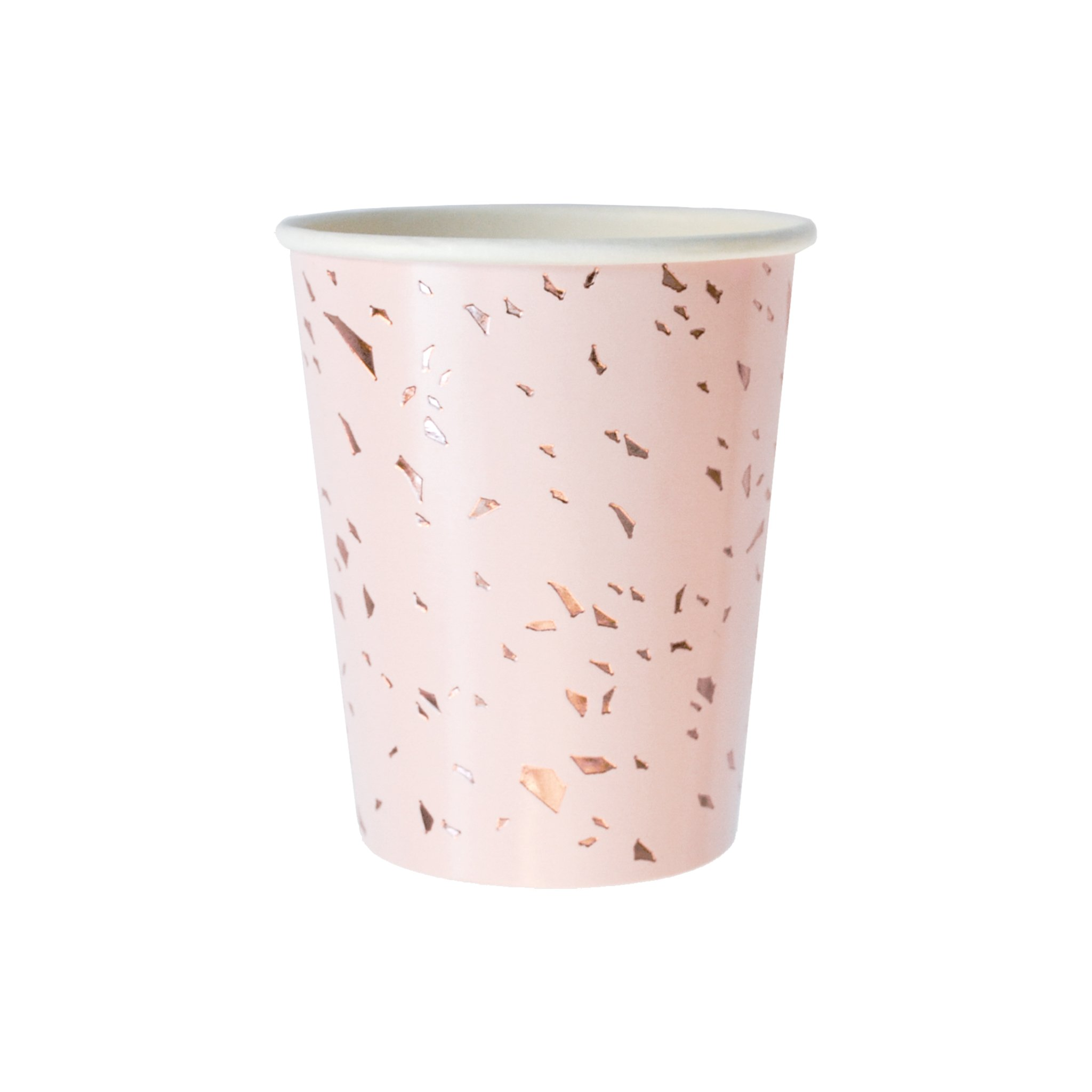 Harlow & Grey Pale Pink w Gold Confetti Paper Cups - Birthday, Wedding, Showers Party Disposable Cups Manhattan (8 Count)