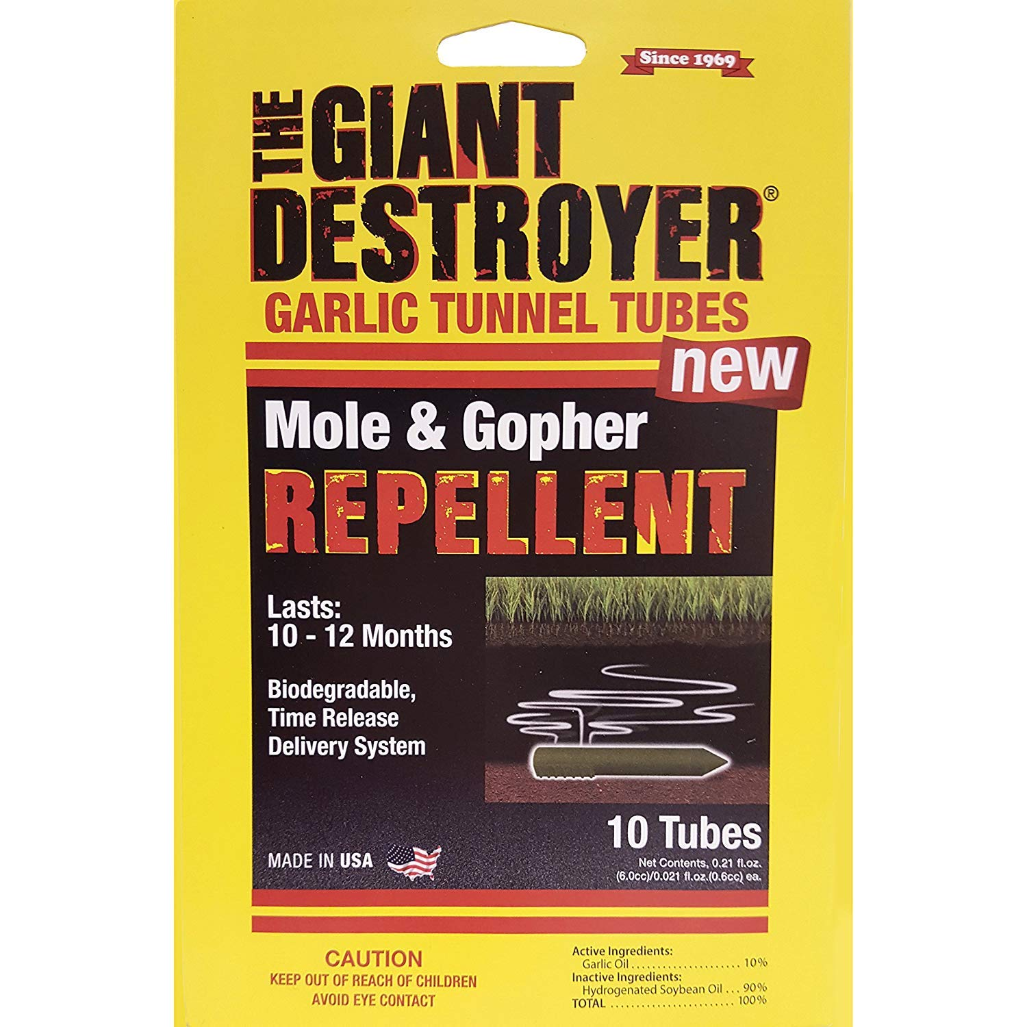 The Giant Destroyer Solution to Control Moles, Gophers, Skunks and Other Burrowing Rodents; NO Dealing w/Dead Pest, Better Than Traps (Garlic Tunnel Tubes (120 Total Tubes)) by The Giant Destroyer
