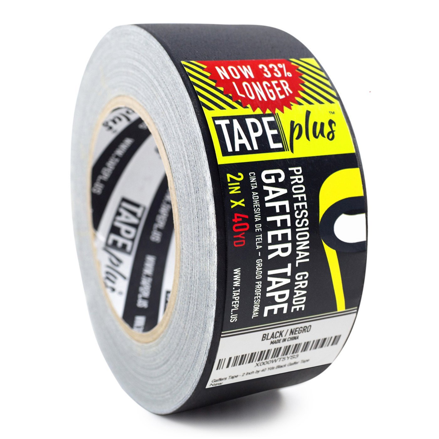 Gaffers Tape - 2 Inch by 40 Yards in Black - Get 33% More! High End Professional Grade - Gaffer Tape is the Perfect Alternative to Duct Tape, Electrical Tape, and other Adhesives by TapePlus