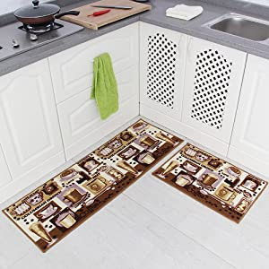"Carvapet 2 Piece Non-Slip Kitchen Mat Rubber Backing Doormat Runner Rug Set, Coffee Design (Brown 15""x47""+15""x23"")"