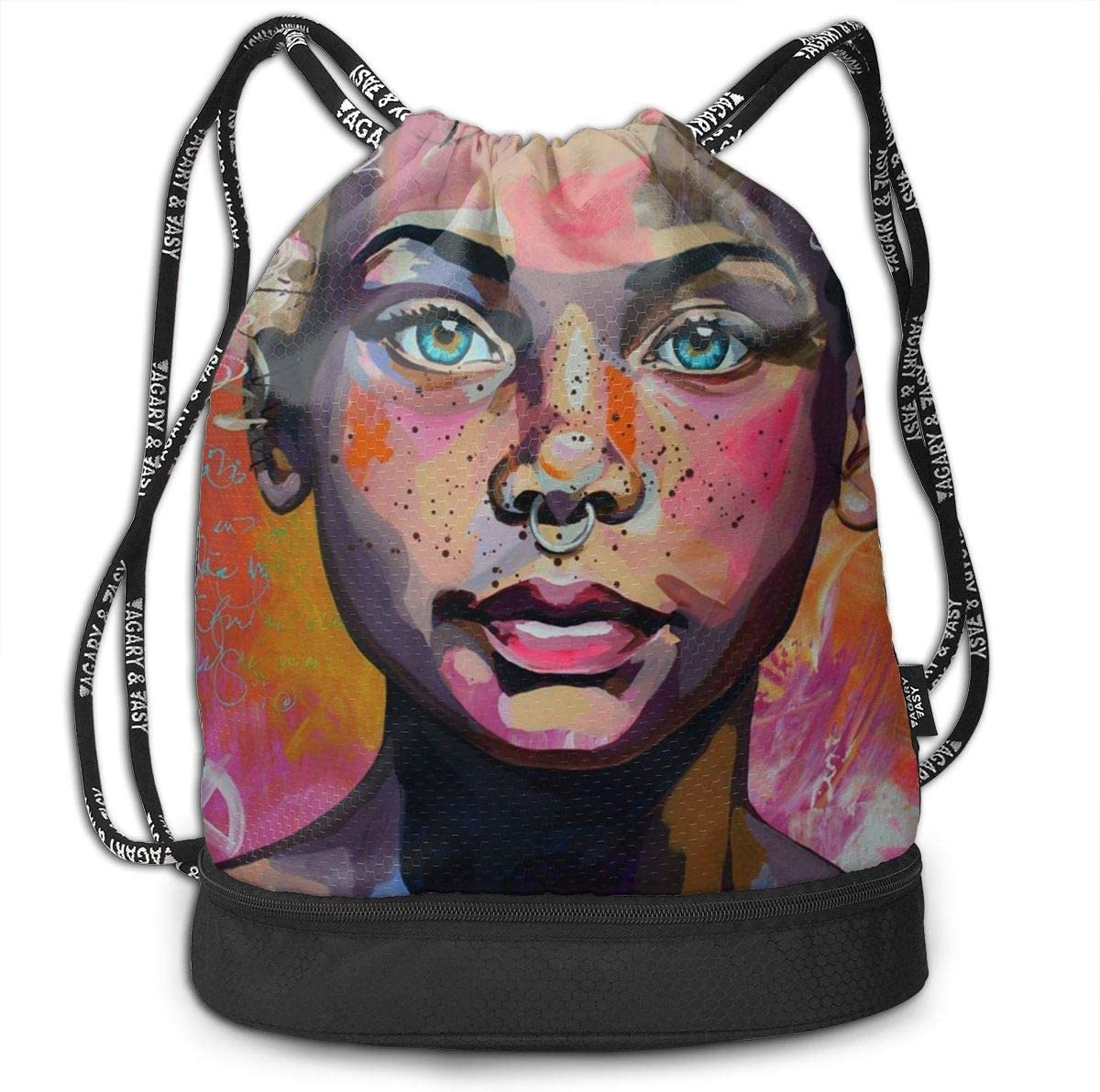 Drawstring Backpack Lovely Black Women Bags Knapsack For Hiking