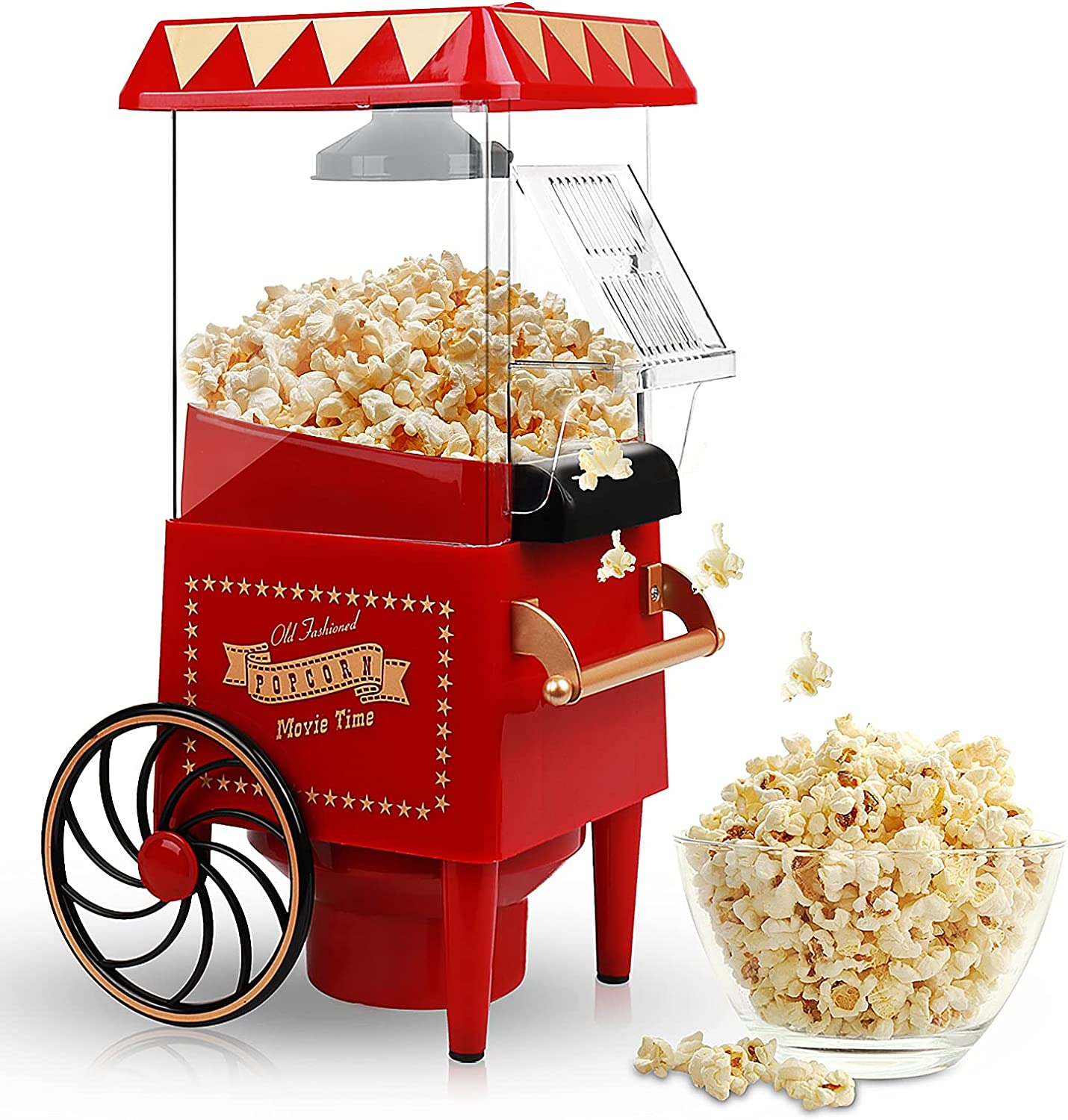 Popcorn Maker, Hot Air Popcorn Machine 1200W Vintage Tabletop Electric Popcorn Popper, Healthy and Quick Snack Suitable for Home Use, Party, Movie Nights and Birthday Gift (Red)