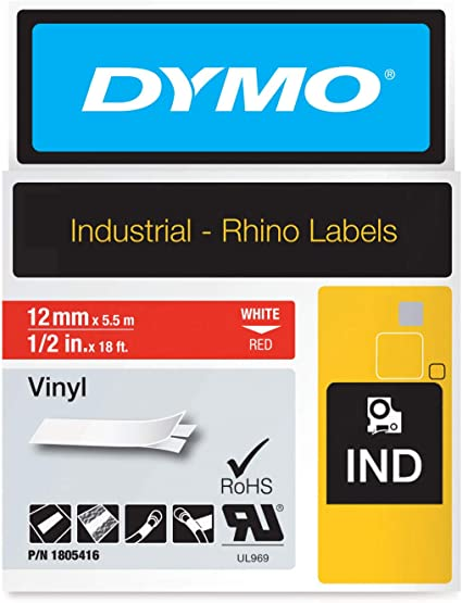 White on Red - New 1 Roll DYMO Authentic ndustrial Labels for DYMO Industrial Rhino Label Makers 1//2