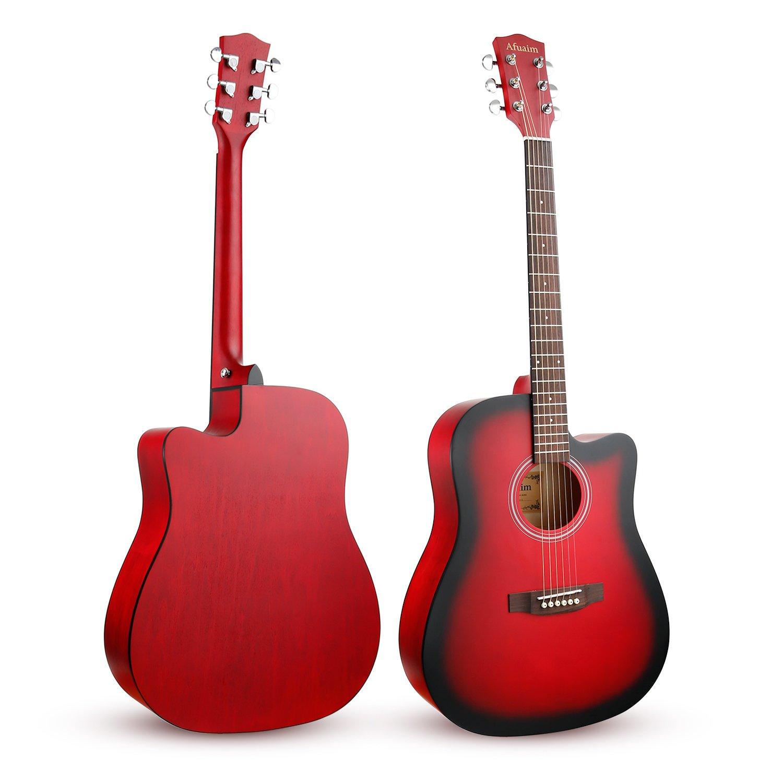 Afuaim Guitarra Acústica Seccionada a Tamaño Completo, Paquete de Guitarra de acero de abeto de 41 pulgadas con Bolsa para Llevar, Cuerdas de Repuesto, ...