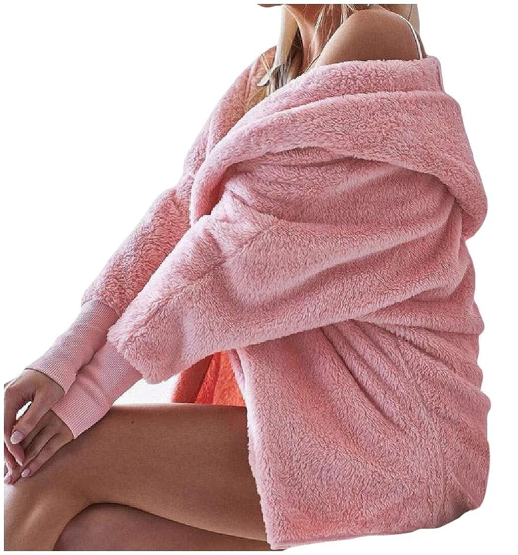 YUNY Womens Hoode Velvet Solid Long Sleeve Open-Front Coat Jacket Pink L