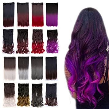 Amazon.com : 23 inch Curly Clip in Hair Extensions Two Tones Ombre ...