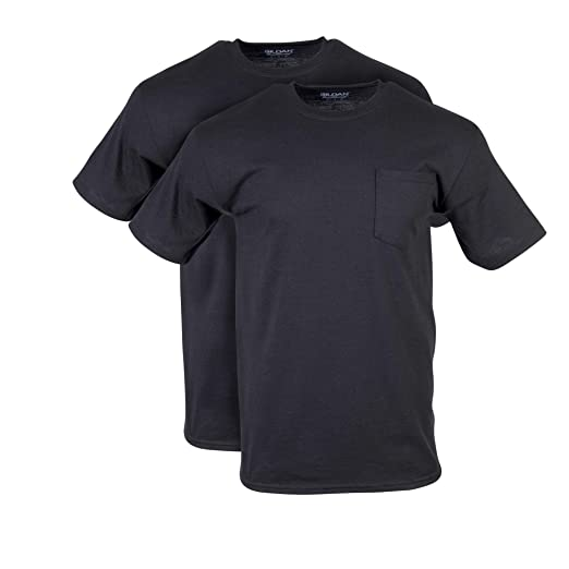 8a82b1091 Gildan Men's DryBlend Workwear T-Shirts with Pocket, 2-Pack, Black,