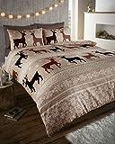 Homemaker Bedding Parure de lit avec housse de couette souple en coton brossé chaud et confortable Doppio marron