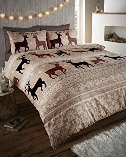 CHRISTMAS BEDDING Warm & Cosy Brushed Cotton Flannelette Duvet Cover ...