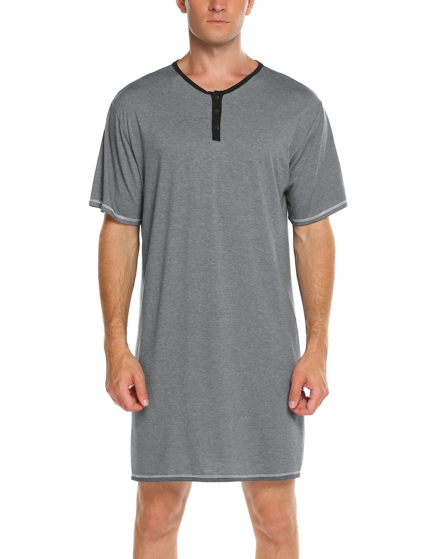 Declare Men's Sleep Shirt Nightshirt Short Sleeve Henley Sleepshirt Kaftan Nightwear(Grey,3XL)