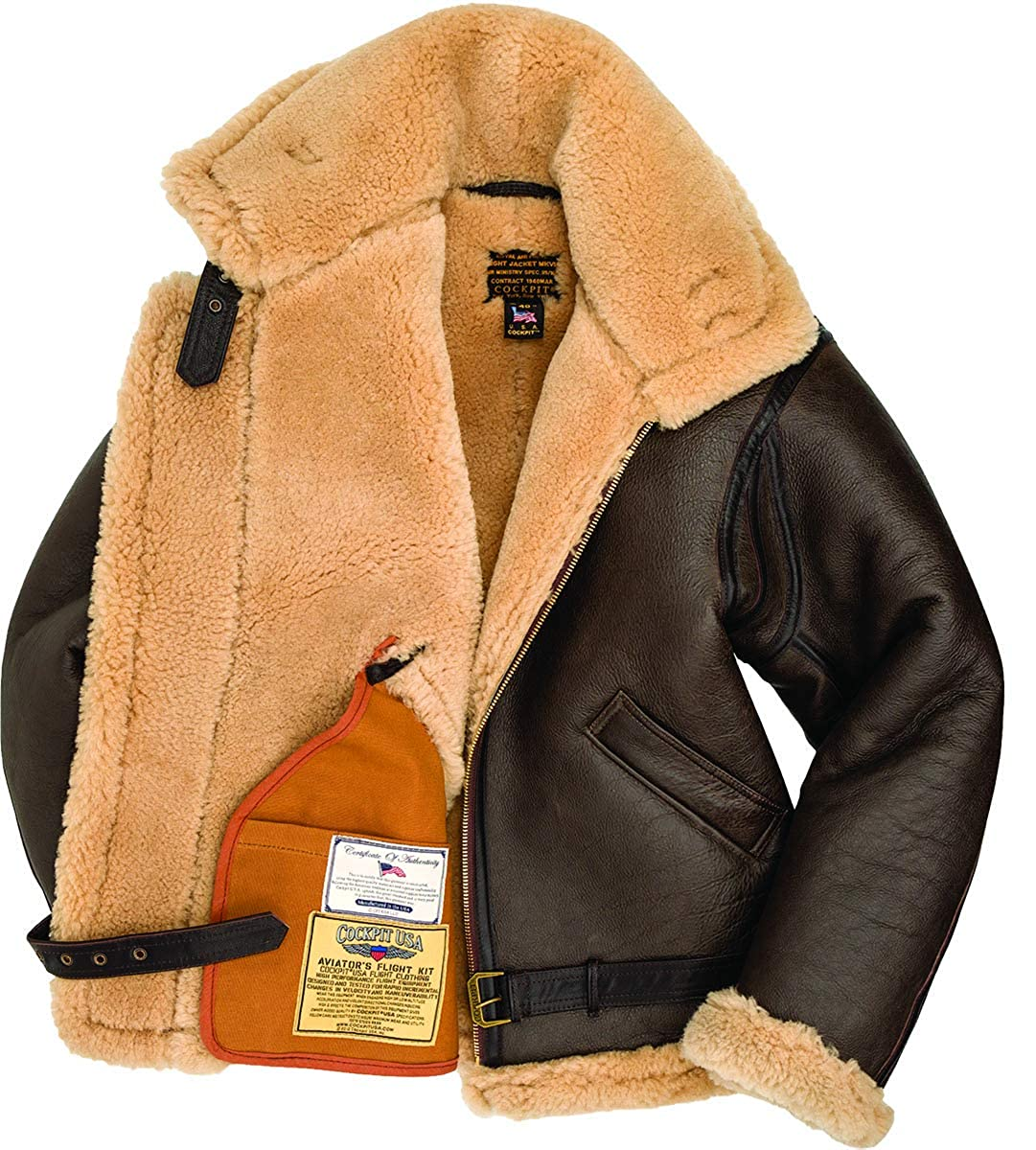 e622ccb25 Cockpit USA R.A.F Brown Sheepskin Leather Bomber Jacket at Amazon ...