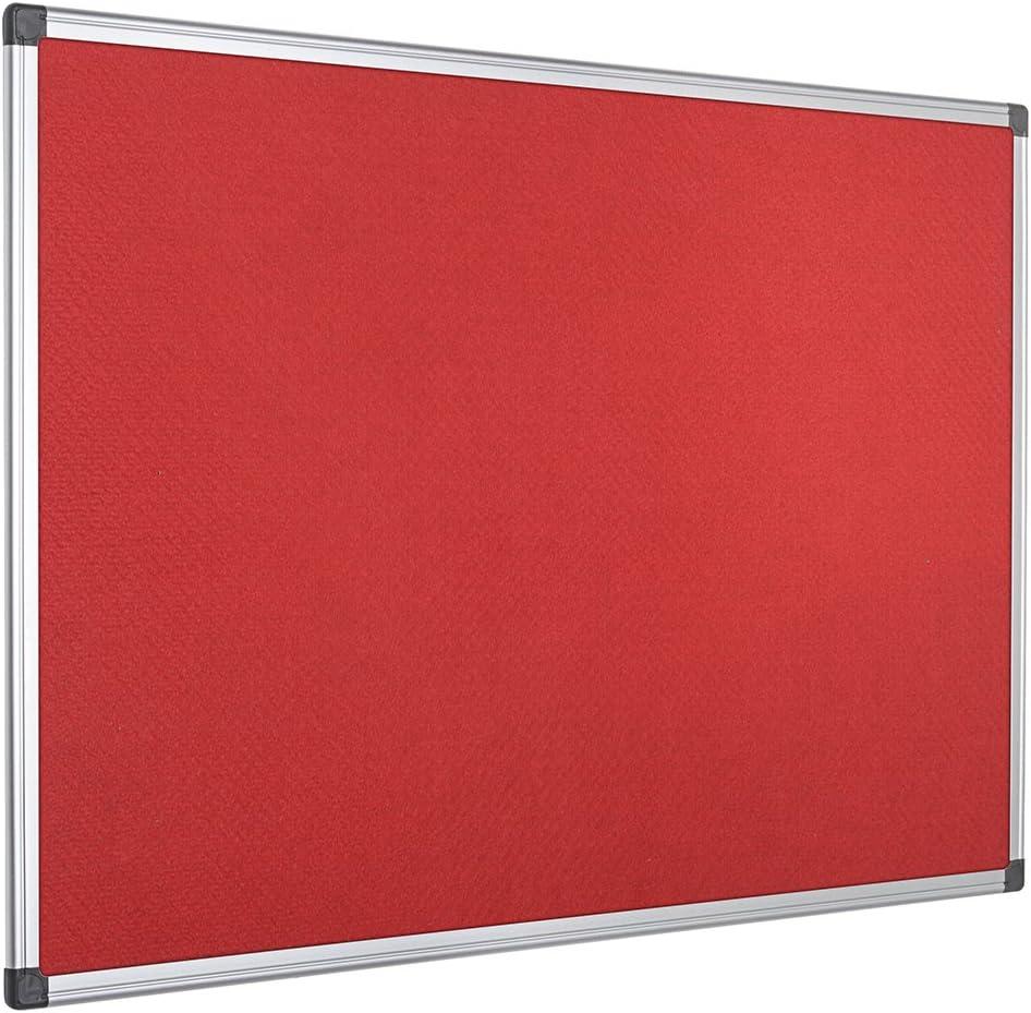 Pinnwand 90 x 60 cm Blaue Filzoberfl/äche Mit Aluminiumrahmen Bi-Office Filztafel Maya Zum Gebrauch Mit Pinnnadeln