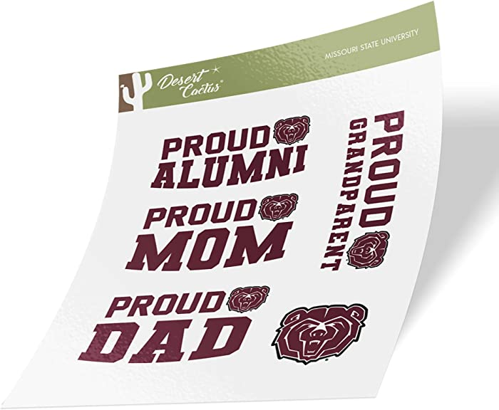Missouri State University MSU Bears NCAA Sticker Vinyl Decal Laptop Water Bottle Car Scrapbook (Family Full Sheet)
