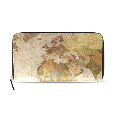 Sunlome Vintage Old World Map Print Pu Leather Long Wallets Zipper