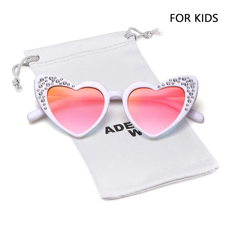Love Heart Shaped Sunglasses Women Vintage Christmas Giftv For Girls (white, pink)