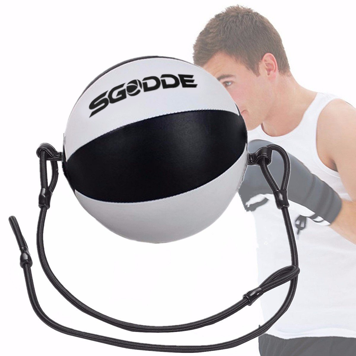 SGODDE Leather Boxing Ball, Speed Dodge Ball Double End Gym MMA Boxing Sports Punch Bag Floor to Ceiling Rope Workout(Length 4,76 ft)