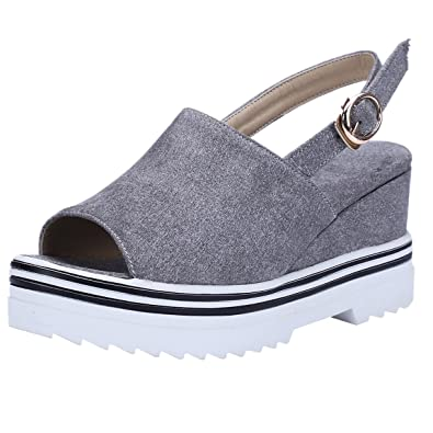62eea6ab7832 Slingpumps Peeptoe High Heels Sommer Schuhe mit Keilabsatz Plateau Pumps  Slingback Damen Keilpumps Hoch Grau 34EU