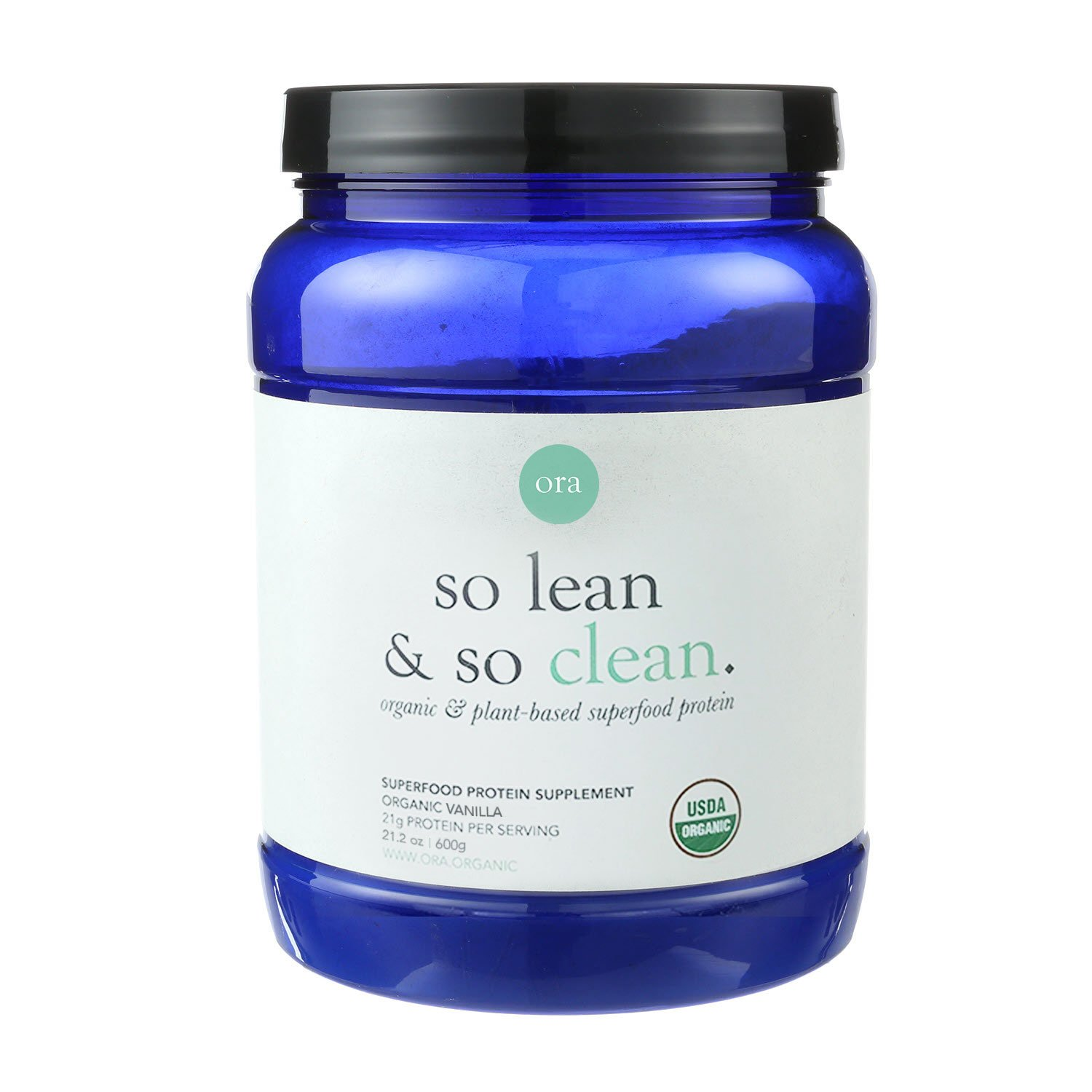 Ora Organic Protein Powder - Vanilla, Plant-based, 21g Protein Per Serving, 2 Servings of Superfood Greens, 1g of Sugar, 21.2oz (600g)