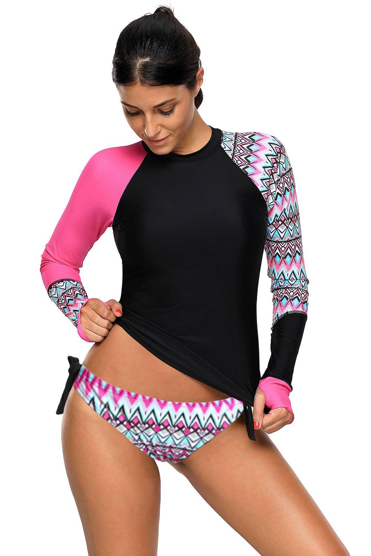 FuYang Womens Long Sleeve Rash Vest Guard Top Sun Protection Tankini Sets Swimwear Swimsuit