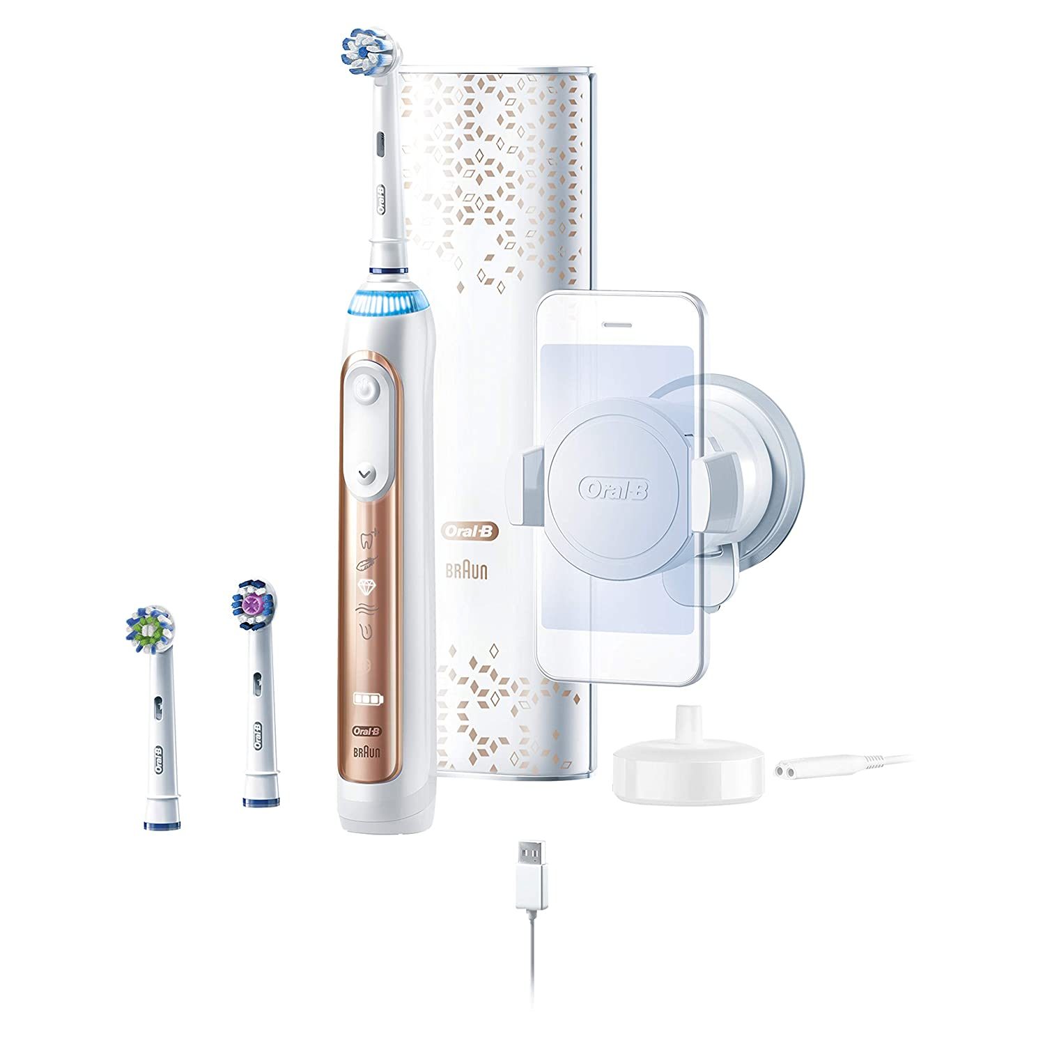 Oral-B 9600 Electric Toothbrush, 3 Brush Heads, Powered By Braun, Rose Gold Procter and Gamble D701.536.6XC