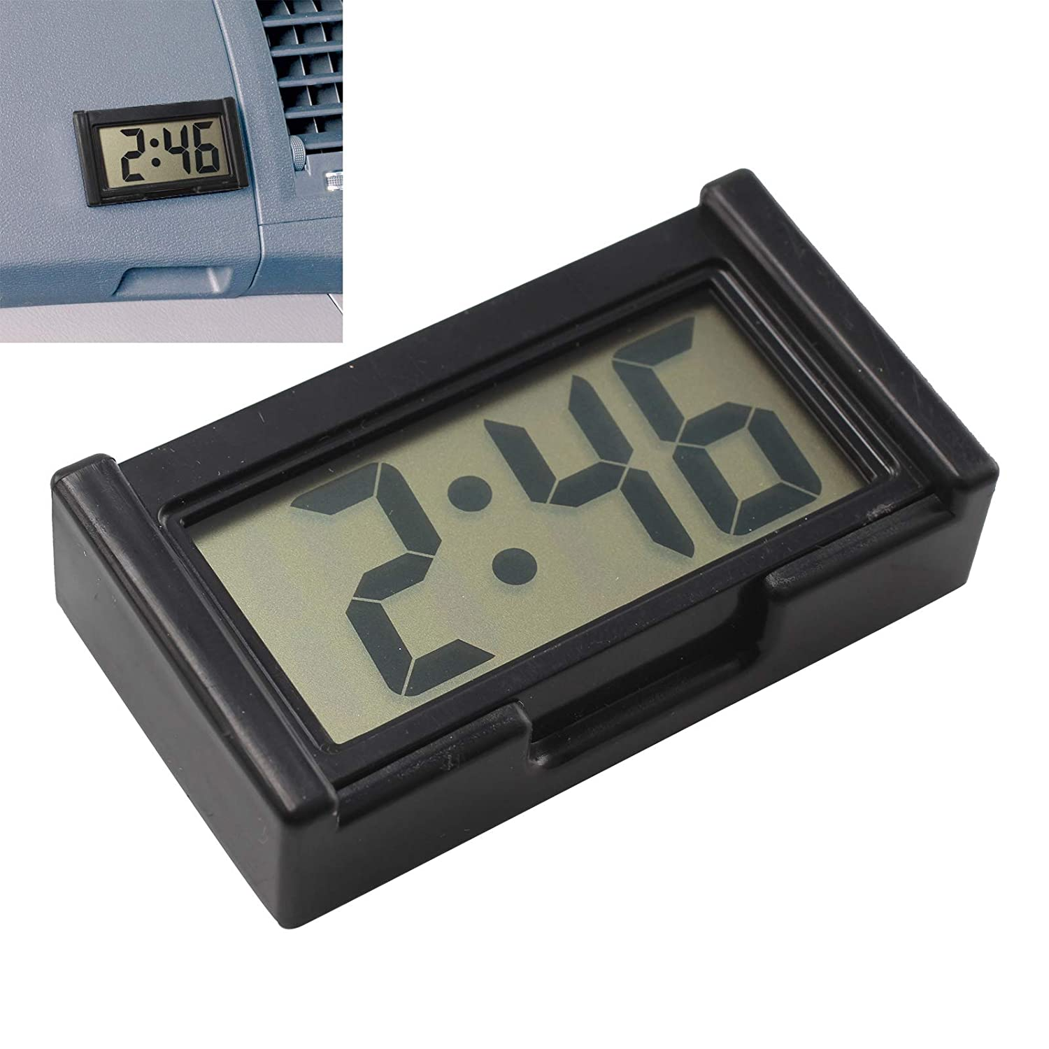 DHOUTDOORS Digital LCD Clock Car Dashboard Desk Vehicle Date Time LCD Screen Self-Adhesive Bracket