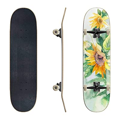 EFTOWEL Skateboards Watercolor Sunflowers Suitable for Poster Postcard Print Cover Classic Concave Skateboard Cool Stuff Teen Gifts Longboard Extreme Sports for Beginners and Professionals : Sports & Outdoors [5Bkhe0706285]