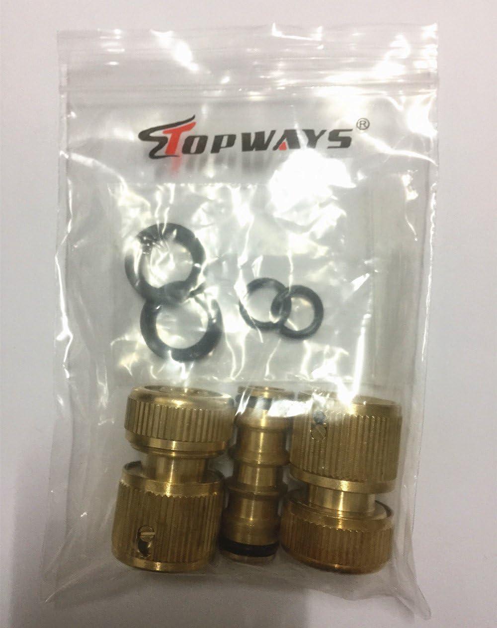 Topways/® Conjunto de reparaci/ón de Manguera 2X Pl/ástico Manguera de Agua de jard/ín de 1//2 Conector Blando de Extremo r/ápido Quick Connector /& 1x Doble Extensor Conector de Manguera Doble Macho