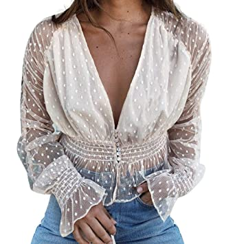 Gilroy Womens Sheer Mesh Crop Top Fishnet T Shirt Long Sleeve See-Through Blouse Party Clubwear