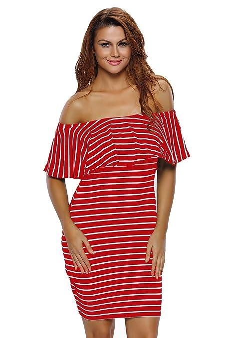 Rojo y blanco rayas off-shoulders vestido Club Wear fiesta Casual talla S UK 8