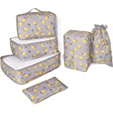 Lemon series 6pcs Detachable Travel Luggage Organizer Packing Cubes Laundry Bag