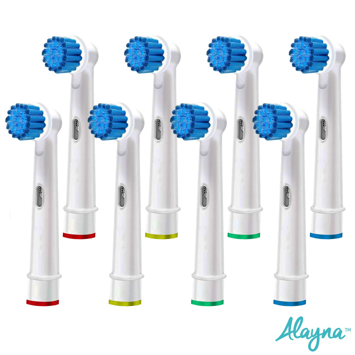 Replacement Brush Heads Compatible With Oral B- Sensitive Gum Care Electric Toothbrush Heads - Pk of 8 Generic Sensitive Clean Brushes- Fits Oral-b Braun 7000, Pro 1000, 9600, 500, 3000, 8000