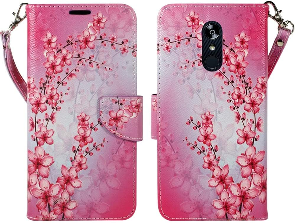 ZASE Design Cover for LG STYLO 5 Protective Case, LG Stylo 5 Plus Wallet Case Premium PU Leather Flip Slim Convenient Folio w/[Kickstand] ID Card Slot Wrist Strap (Pink Cherry Blossom Flower)