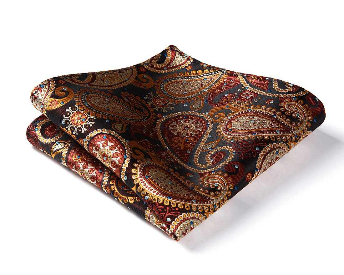 HISDERN Men's Check Paisley Floral Dot Striped Wedding Party Pocket Square Handkerchief