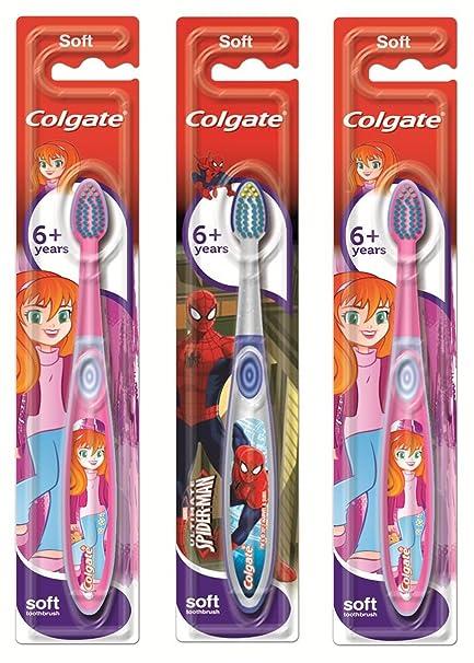 Colgate Smiles - Juego de 3 cepillos de dientes para niños a partir de 6 años