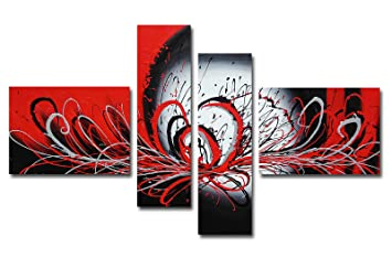 Muzagroo Art Oil Painting Black And Red Lines Abstract Art On Canvas Hand Painted Pictures For Dining Room M