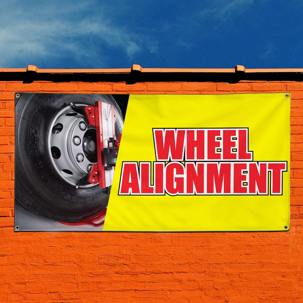 Multiple Sizes Available Vinyl Banner Sign Wheel Alignment Auto Car Vehicle Style S Marketing Advertising Grey Set of 3 24inx60in 4 Grommets