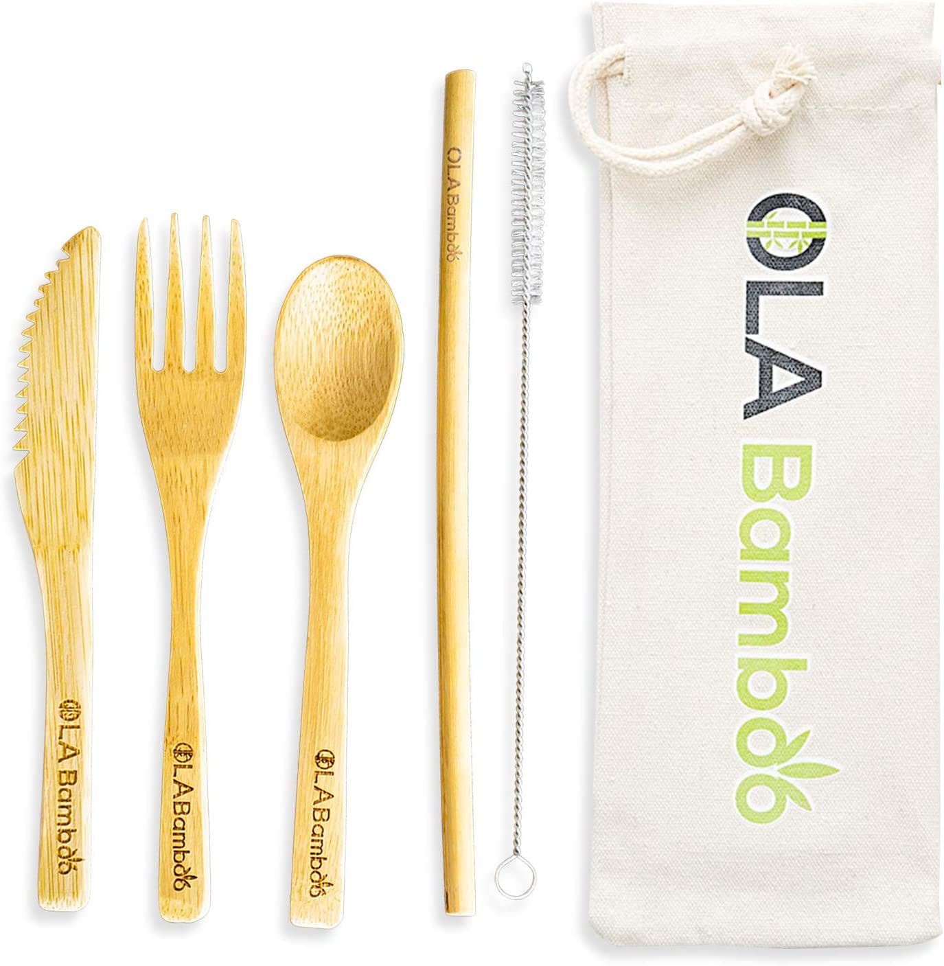 OLA Bamboo - Zero Waste Kit, 5-Piece Bamboo Cutlery Set, Reusable Bamboo Travel Utensil Set with Case, Includes a Bamboo Straw and Brush